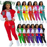 Women Tracksuits Two Peice Set Designer Baseball Jacket Lettered Printed Sweatpants Ladies Casual Colour Splicing Sports Suits 12 Colours