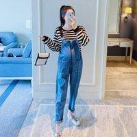 Fondos de maternidad Autumn Denim Zipper Jeans Jeans Monos sueltos Pantalones de baberos ajustables sueltos Ropa para mujeres embarazadas Jumpsuit