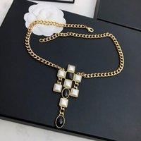 Vintage Modeschmuck für Frauen Partei Europa Luxus Pullover Kette Schwarz Weiß Perlen Lange Halskette C Briefmarke Geschenke Ketten