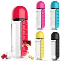 600ml Sports Plastic Water Bottle With Daily Pill Box Organizer Drinking Travel Hiking Outdoor Leak-Proof Tumbler Bottles 2 In 1