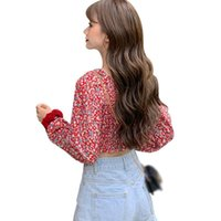 Spring Summer Ladies Korean Women's Fashion Small Floral Print Square Collar Sexy Sweet Pleated Short Chiffon Shirts Tops Blouses &