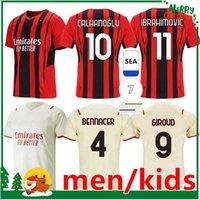 21 22 milan soccer jerseys IBRAHIMOVIC THEO MANDZUKIC AC football shirt 2021 2022 fourth set BRAHIM CALHANOGLU kids kit + men