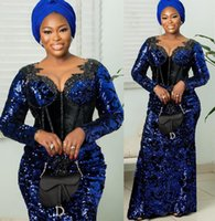 2021 Plus Size Arabic Aso Ebi Royal Blue Sparkly Prom Dresses Lace Beaded Sheer Neck Evening Formal Party Second Reception Bridesmaid Gowns Dress ZJ235