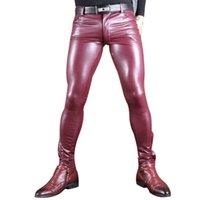 Costumes Costumes Sexy Hommes Faux Cuir Pu Matte Matte Fashion Pantalons Rôle Men X Soft Skinny Pantalon Gay Fermeture à glissière Pantalon Crayon Open Gay