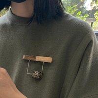 Pins, Broschen XZ62338-D29-D24 Amorita Boutique Einfache Stil Holzbrosche