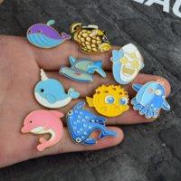 Animal Sea Shark Baleine Broche Broche Épingles Enamel Dessin animé Revers Pin Pour Femmes Hommes Top robe Cosage Bijoux de mode Will et Sandy