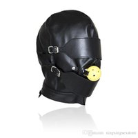 PU Leather Hoods Head Mask Fetish Bondage Zipper Full Head Harness with Removable Blindfold Gothic Costume With Blindfold Gag