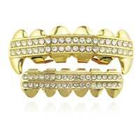 Punk Gold Teeth Grillz 2 Row Iced Out Grills Dental Hip Hop Vampire Fangs Teeth Caps Halloween Party Body Jewelry XHYT1019-1