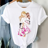Women's T-Shirt T-shirts Women Floral Watercolor Girl Daughter Cartoon Mom Mother Mama Clothes Stylish Tshirt Top Lady Print Tee