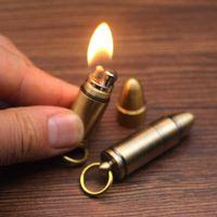 Mini Bullet Kerosene Lighter Free Fire Flint Torch Lighters Keychain Windproof Metal Grinding Wheel Gadget Some Gifts For Men 210724