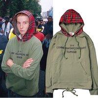 Trendy Herrenstraße Ins Kanye Nebel Scottish Checkfarbe Kontrast Hoodie