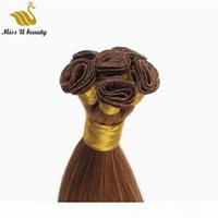 Russian Remy Hair handgebundene schuss unverarbeitete jungfrau Haarverlängerungen Nagelhaut ausgerichtet handgebundenes Haar 150gram 12-24inch