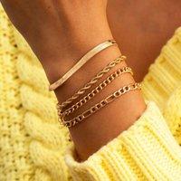 Charm Bracelets Western Style Punk Vintage Hip Hop Flat Snake Bone Geometry Twist Ladies Bracelet