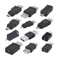 Hubs 12pcs   Lot 12 In 1 OTG Adapter Converter Kit USB 2.0 Male To Female Micro Mini USB2.0 Couplers Mix Set A & B AM AF Convertor