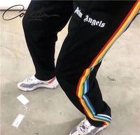 Yan Palm S 20FW Gökkuşağı Şerit Mektup Casual Pantolon Erkekler ve Kadınlar için