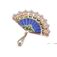 Chinese Style Fan Metal Jewelry Gifts Women Brooches for the New Year Gift Cloth Decoration EWE9515