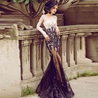 White And Black Sheer Tulle With Beads Lace Mermaid Evening Dresses Long Sleeve Floor Length Prom Dress 2020 abendkleid