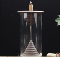 20cônes Chinois Dragon Encens Burner Céramique Backflow Burnfre Burner Encens Cônes d'encens Aroma Censeur avec couvre à vent acrylique 679 V2