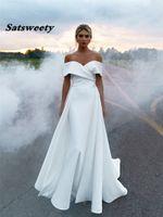 인어 웨딩 드레스 2021 착탈식 스커트가있는 어깨 공주 웨딩 파티 드레스에서 부드러운 새틴 신부 가운