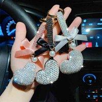 Bow Criativo Diamante Completo Amor Keychain Moda Enrustada Carro Keyring Bolsa De Jóias Pingente