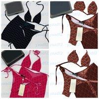 Lettres entières Jacquard Bikinis Maillot de bain Sexy Split Beachwear Womens Femme Spa Piscine Piscine Courses de baignade 3pcs Set Plage Bra Slights Skres