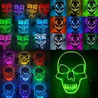 Halloween dekorationer Mask LED Light Up Glowing Party Roliga Masker Renning Valår Bra Festival Cosplay Kostym Tillbehör Coser Face Sheild