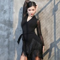 대형 라틴 댄스 드레스 성인 여성 슬림 술 스커트 섹시한 V 넥 메쉬 긴 소매 성능 드레스 여자 DL6604 무대 착용