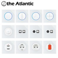 Smart Home Control EU FR Power Socket Light Switch With LED Wall Outlet Reset Push Button Lamp Switches TV RJ45 White Glass