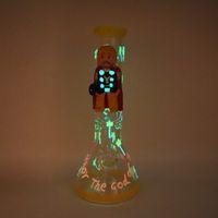 13'' 3D painting cartoon man luminous hookahs glass bongs with 18mm female joint