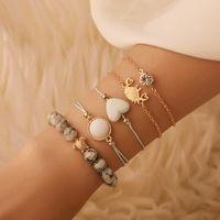 Charm Bracelets Fashion Design 5PCS Women Boho Beach Multilayer Metal Bracelet Set Chain Jewelry Gift 2021 Accessories