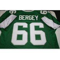 Özel 009 Gençlik Kadın Vintage Bill Bergey # 66 Dikişli Retro Futbol Forması Boyut S-5XL veya Özel Herhangi bir Ad veya Numarası Forması