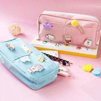 Pencil Cases Large Capacity Canvas Case Pink School Supplies Box Creative Korea Style Makeup Storage Bag Bags D50