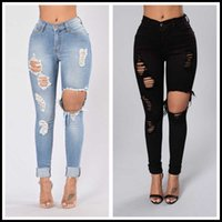 Wholesale Price Spring Summer Ripped Jeans For Women Fashion Stretch Denim Pencil Pants Slim Skinny S-2XL Drop Women's