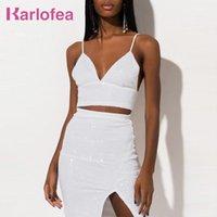 Zwei Stück Kleid Karlofea Frauen Rock Set Sexy V-Ausschnitt Pailletten passende Anzug Crop Top und Split Club Party Vestidos Weiße Outfits