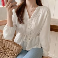 V-Neck White Blouse Sashes Casual Woman Clothes 2021 Fall Lace Long Sleeve Shirt Women Blouses Shirts Chemisier Femme Women's &