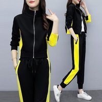 Women's Two Piece Pants Side Stripe Sportswear 2 Outfits For Women And Tops Fall 2021 Fashion Splicing Zip Trousers Black Matching