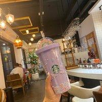 Starbucks Tasses de voyage de 16oz / 450ml Tabouilleurs à clouté de Girls de filles Rainbow Double tasse avec paille et couvercle sirène déesse tasse en plastique de plastique mignon animal de compagnie gobelets froids