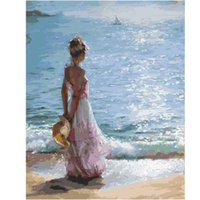 Paintings Sea Girl Coloring By Numbers DIY Hand Painted Oil Painting On Canvas Wall Pictures For Living Room Digital Arts Decor