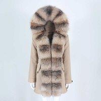 OFTBUY 2021 Yeni Su Geçirmez Parka Gerçek Kürk Kış Ceket Kadınlar Doğal Fox Kürk Yaka Kapşonlu Kalın Sıcak Ayrılabilir Giyim C0925