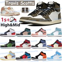 Travis Scotts 1 1S Hommes Basketball Chaussures Hautes Sneakers Chicago Blue Moon Turbo Vert Milieu Quartz Milan Blanc Blanc Blanc Rouge Royal Femmes Formateurs