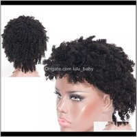 Productszhifan Afro Style 8 Inch Short Kinky Curly Bob Full Lace Wigs Human Hair For Black Women Drop Delivery 2021 B86Ck