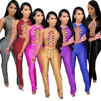 Sexy Lace Up Bandage Matching Sets For Women Co Ord Party Birthday Club 2 Piece Outfits Hollow Out Crop Top And Pants Women's Tracksuits