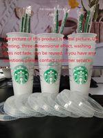 Starbucks 24oz / 710ml Tasse en plastique TUMBUBLE COUVERTURE RÉUBABLE DISPARIBLE CLAIS PILURE DE FONT DE FACE DE PILLE COUPE DE PARAW CLASSEMENT DHL Flash UV Impression Aucun décoloration