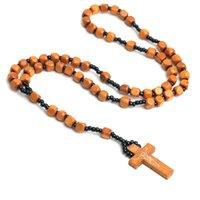 Joyería hecha a mano al por mayor Rosario Collar Natural Cuenta de madera Cruz Católica Colgante Religioso Joyería de Oración de Oración