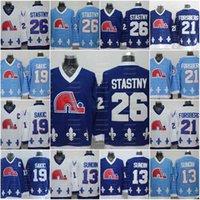 ABN Vintage Quebec Nordiques Winter Classic Blue Trikots 26 Peter Stastny Marois13 Mats Sundin 19 Joe Sakic 21 Peter Forsberg Umschlag Uniform H
