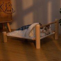القط أسرة الأثاث Shuangmao الحيوانات الأليفة السرير القابل للإزالة كيس النوم أرجوحة للكسر القطط الخشبية منزل الشتاء الدافئ الحيوانات الأليفة
