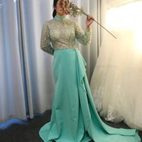 Light Green Long Sleeve Formal Dresses Evening Wear Beaded Crystal High Neck Sheer Top Side Split Satin Skirt Prom Party Pageant Dress