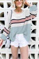 Green Purple Colorblock Knit Sweater Wpmen O Neck Long Sleeve Striped Knitted Plus Size S-2XL 2XL Tops Women's Sweaters