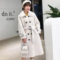 Women's Genuine Shearing Coat SP & AU Fashion Medium Long Female Grain Fleece Composite Fur One Wool Outerwear Warm Blends
