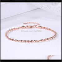 Link, Chain Bracelets Jewelrydouble Fair Smooth Exquisite Trendy Wave Twisted Grain Bracelet For Women Rose & White Gold Color Fashion Jewelr